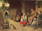 A classical painting of an older man telling stories to children.