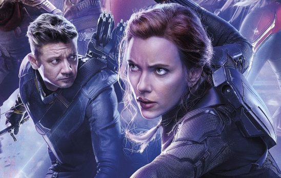 An Endgame poster showing Hawkeye and Black Widow side by side.