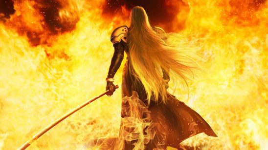 Sephiroth walking into a wall of flames.