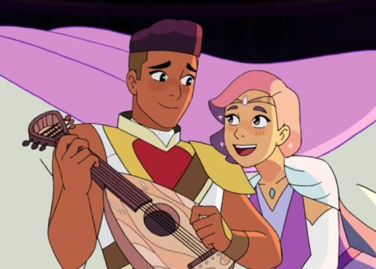 Bow and Glimmer blush as Glimmer compliments Bow's music