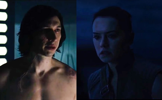 Kylo Ren and Rey communicate telepathically while Kylo Ren is shirtless