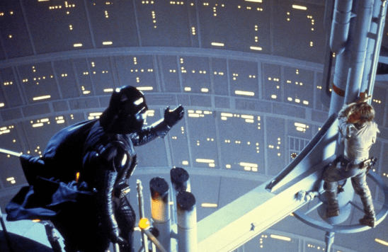Vader reaching out to Luke over the Cloud City drop.