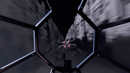 The view from Vader's cockpit as he target's Luke.