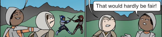 a hero holds another back from a fight