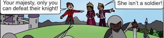 a general and two monarchs stand before a battle