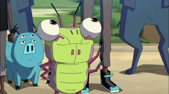 A giant cartoon insect stands on two legs, looking up at his human friend.