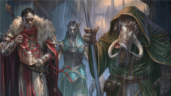 Three adventurers in the rain from Guildmasters Guide to Ravnica