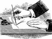 A black and white image of an author's hands using a pen to draw a picture of a pen.