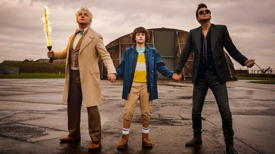 Adam holding hands with Crowley and Aziraphale in Good Omens.