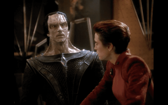 Kira glaring at Dukat in DS9