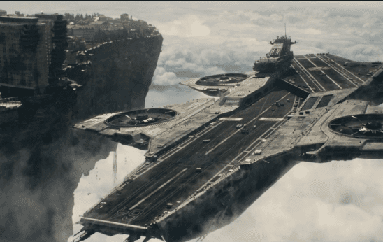 A helicarrier rising up next to a flying city.