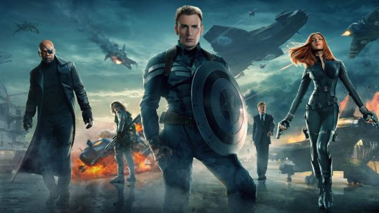 A publicity poster for The Winter Soldier, showing Captain America, Nick Fury, and Black Widow in the foreground.