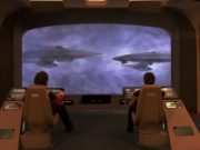 The Enterprise viewscreen showing two other Enterprises.