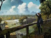 A young woman on a mossy bridge looks over a post apocalyptic city landscape.
