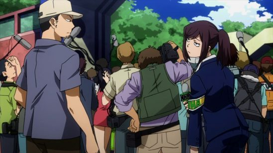 Disappointed looking reporters from My Hero Academia