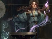 MTG art showing a woman summoning multicolored magic.