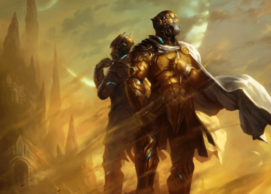 Two Golds wearing scifi armor.