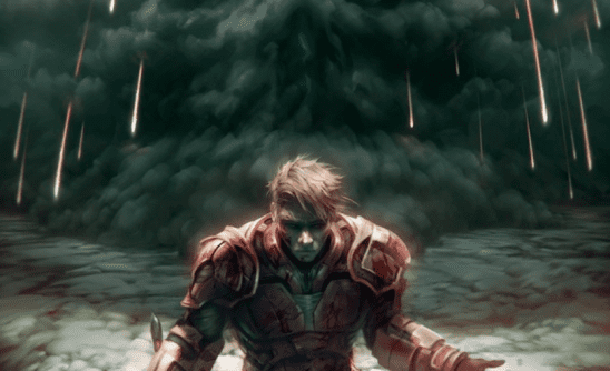 Darrow in Red armor with black smoke behind him.