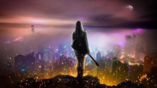 A woman with a guitar standing in front of a burning city.