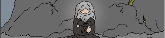 a hermit huddles on a mountainside