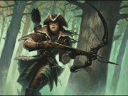 Art from the MTG card Daybreak Ranger: A woman with a longbow running through the forest.