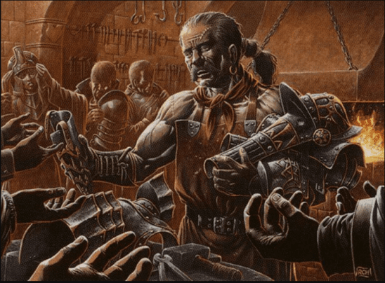 A grizzled man handing out armor, from the MTG card Veteran Armorer