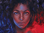 Brie with curly black hair and red flames from Legendborn's cover art.