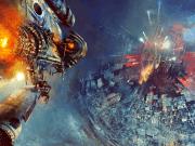 A spacecraft burning toward a futuristic city.