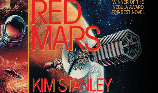 A spacecraft orbiting Mars from the cover art of Red Mars.