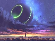 A spherical glowing space station hovers over a city.