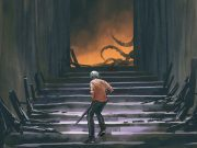 A man with a shot gun tenatively climbs a wrecked staircase toward a glowing room with tentacles