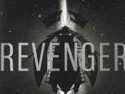 A dark ship against the background of space, from the cover of Revenger.