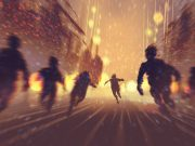 Blurry silhouettes chase someone down a street at night