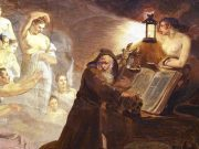 An old white man in a dark robe huddles over a book while half naked glowing women reach for him