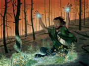 A man summoning lush plants in a burned out forest.