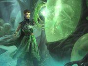 A druidic woman summoning green magic.