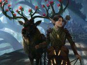 An elven woman guiding her elk.